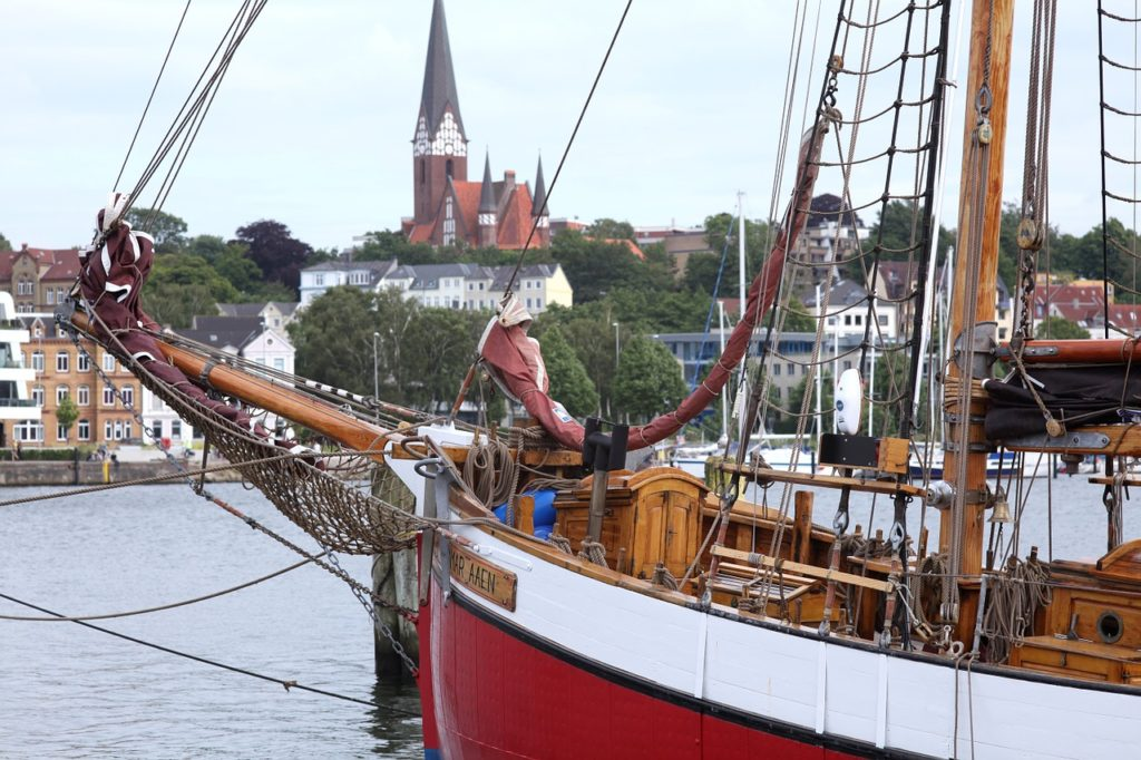 Classical old ship in the Old marina of Flensburg