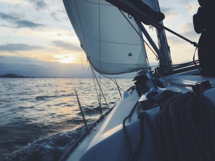 Part of the sailboat in the sunset - Harba