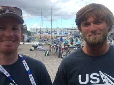 Judge Ryan and Hans Henken USA 49'er team at Aarhus