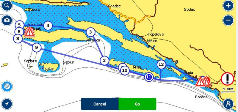 Sailing route map in Croatia