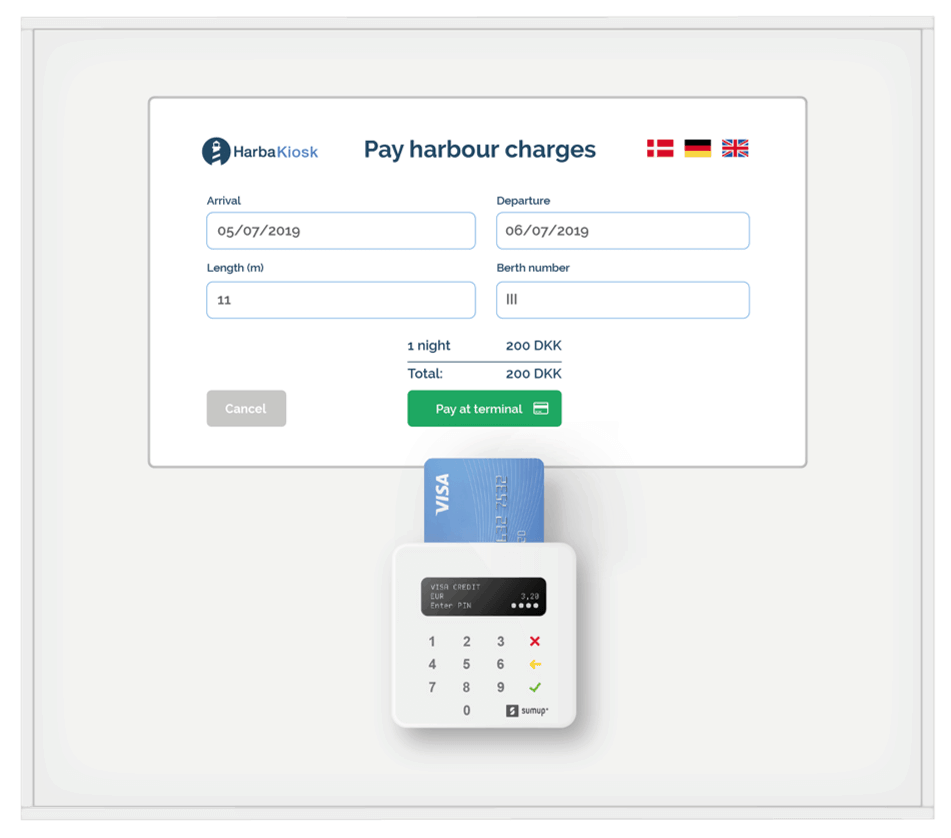 HarbaKiosk self-service payment terminal for marinas indoor version