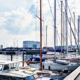 Boats docked at Aarhus Nordhavn