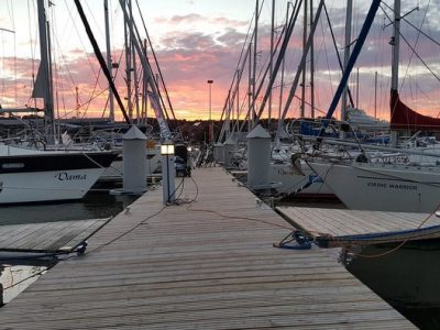 Yachts docked at Nida Marina