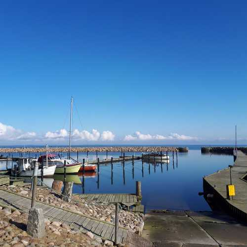 Ejeslev marina on a sunny day