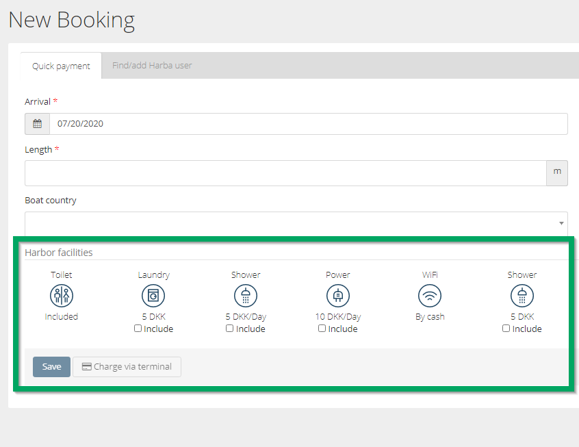 Facilities in manual bookings HarbaMaster Guest Module system screenshot