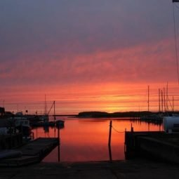 Sunset at Hou marina in North Jutland