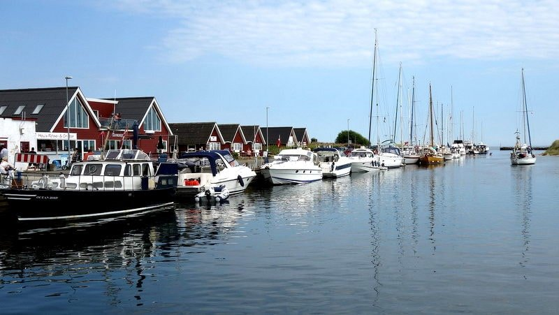 Boats docked at Hou marina in North Jutland