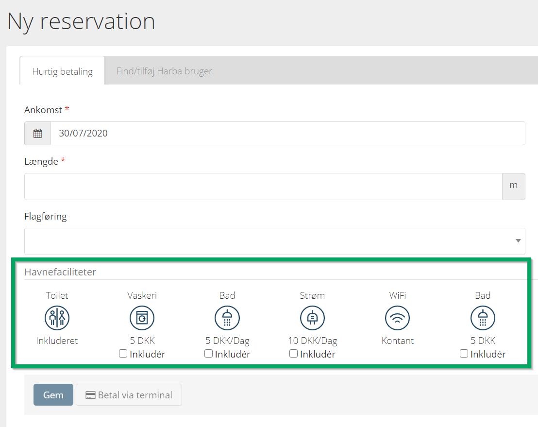 Facilities in manual bookings HarbaMaster Guest Module system screenshot - Danish version