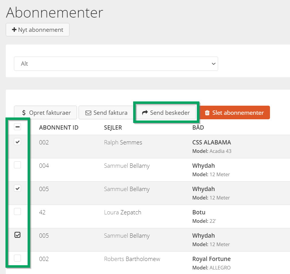 Screenshot from HarbaMaster dashboard showing new Send Messages button - Danish version
