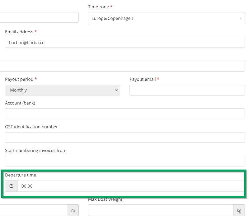 HarbaMaster screenshot showing departure time logic change