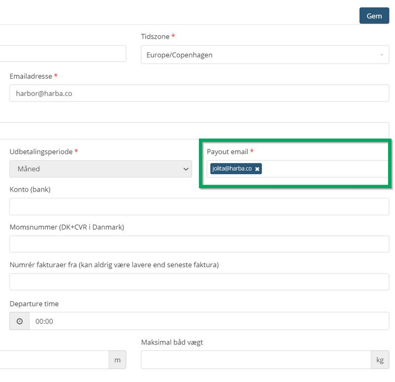 HarbaMaster screenshot showing new payout email field in danish language