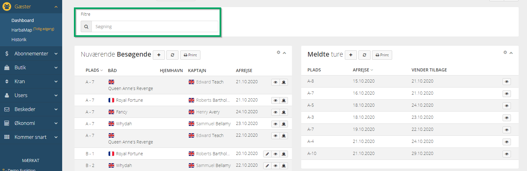 HarbaMaster dashboard screenshot showing search function in guest module in Danish language