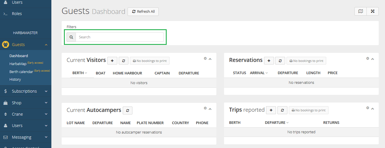 HarbaMaster dashboard screenshot showing search function in guest module
