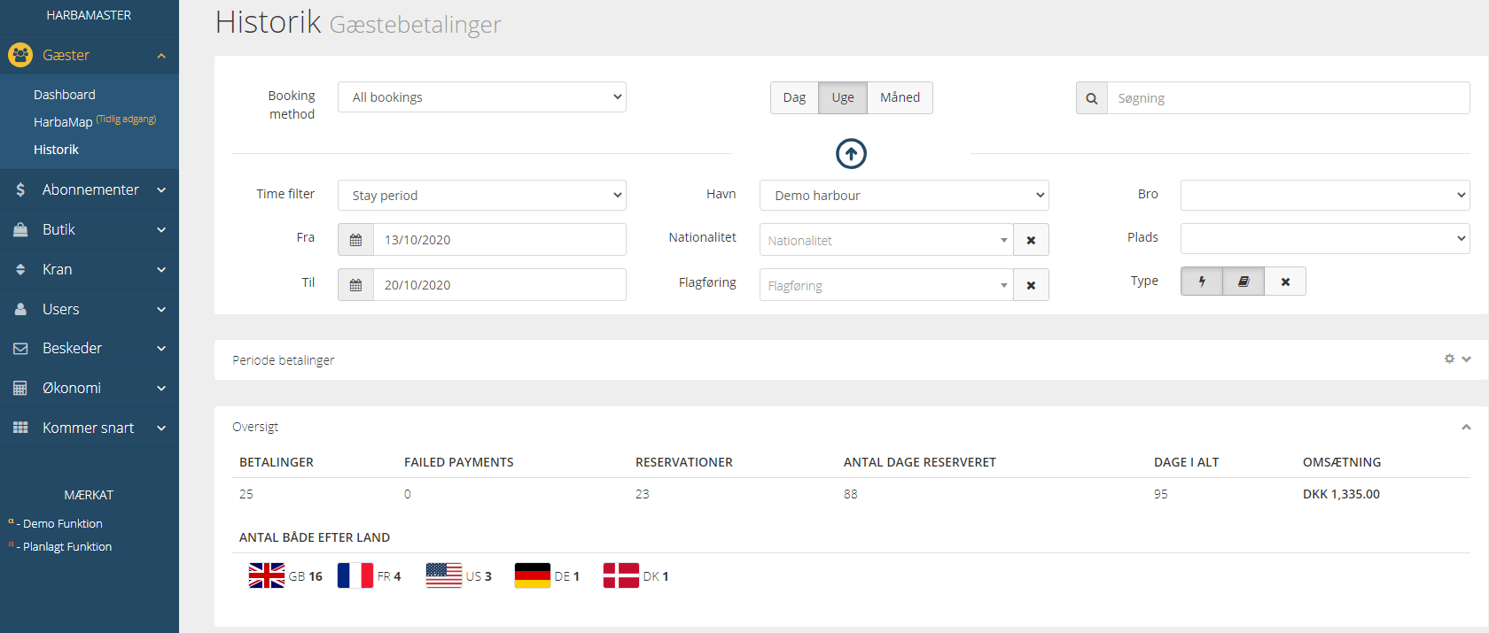 HarbaMaster dashboard screenshot showing updated history section in Danish language