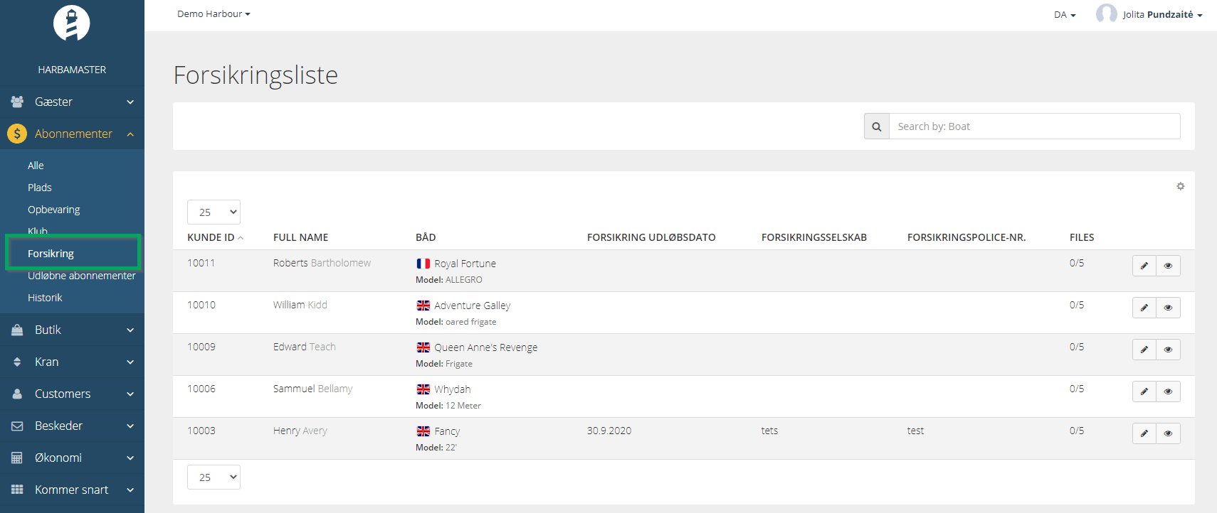 HarbaMaster dashboard screenshot showing Insurance section