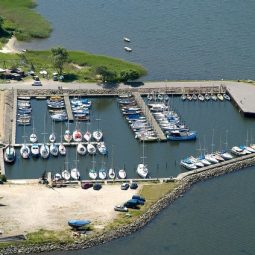 Hjarbæk marina from above