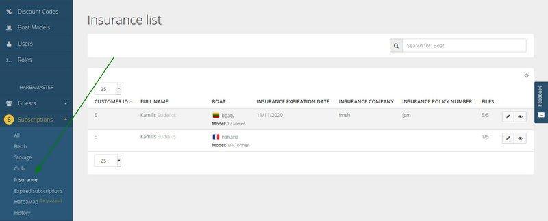 HarbaMaster dashboard screenshot showing boat insurance section