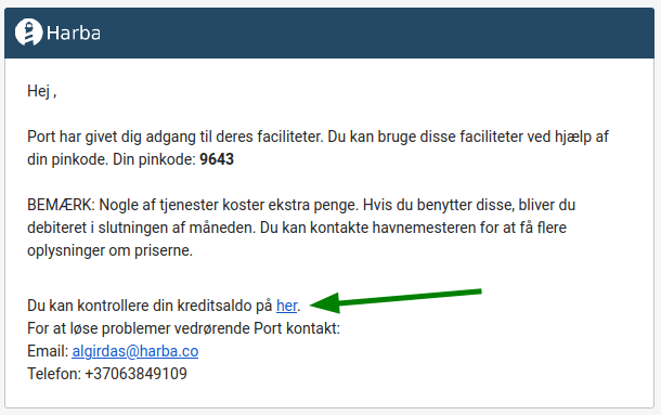 HarbaAccess email example in the Danish language